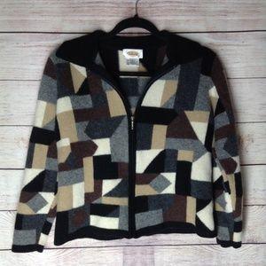 Talbots Vintage color block sweater jacket sz LP